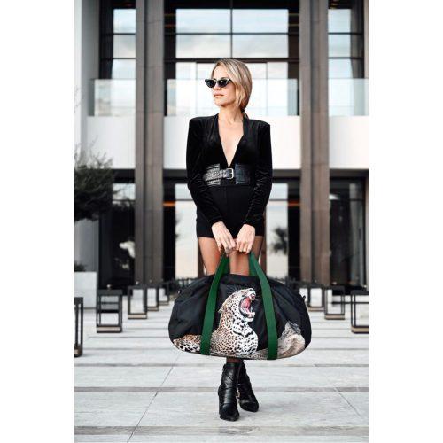 marina vernicos collection duffel bag leopard