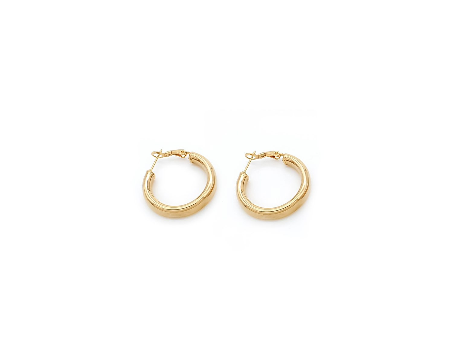 Gold Plated Thick Hoop Earrings 3cm - Adema