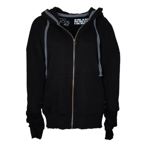 "Black ""Rock"" Zipper hoodie"