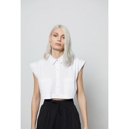 The Collar Crop Top-White - 4tailors