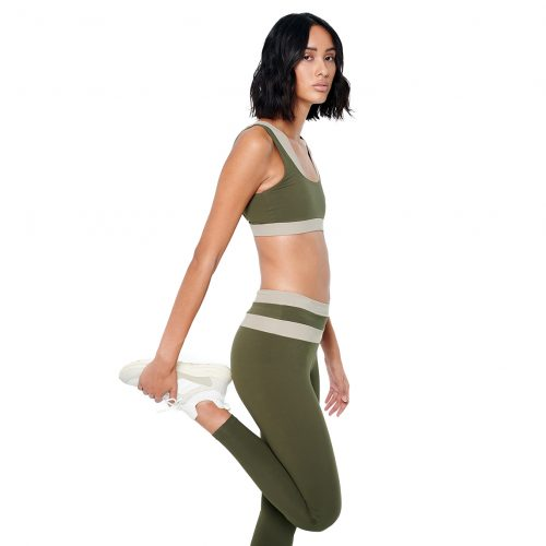 FUNCTION Two-Tone Leggings Green - MEYIA
