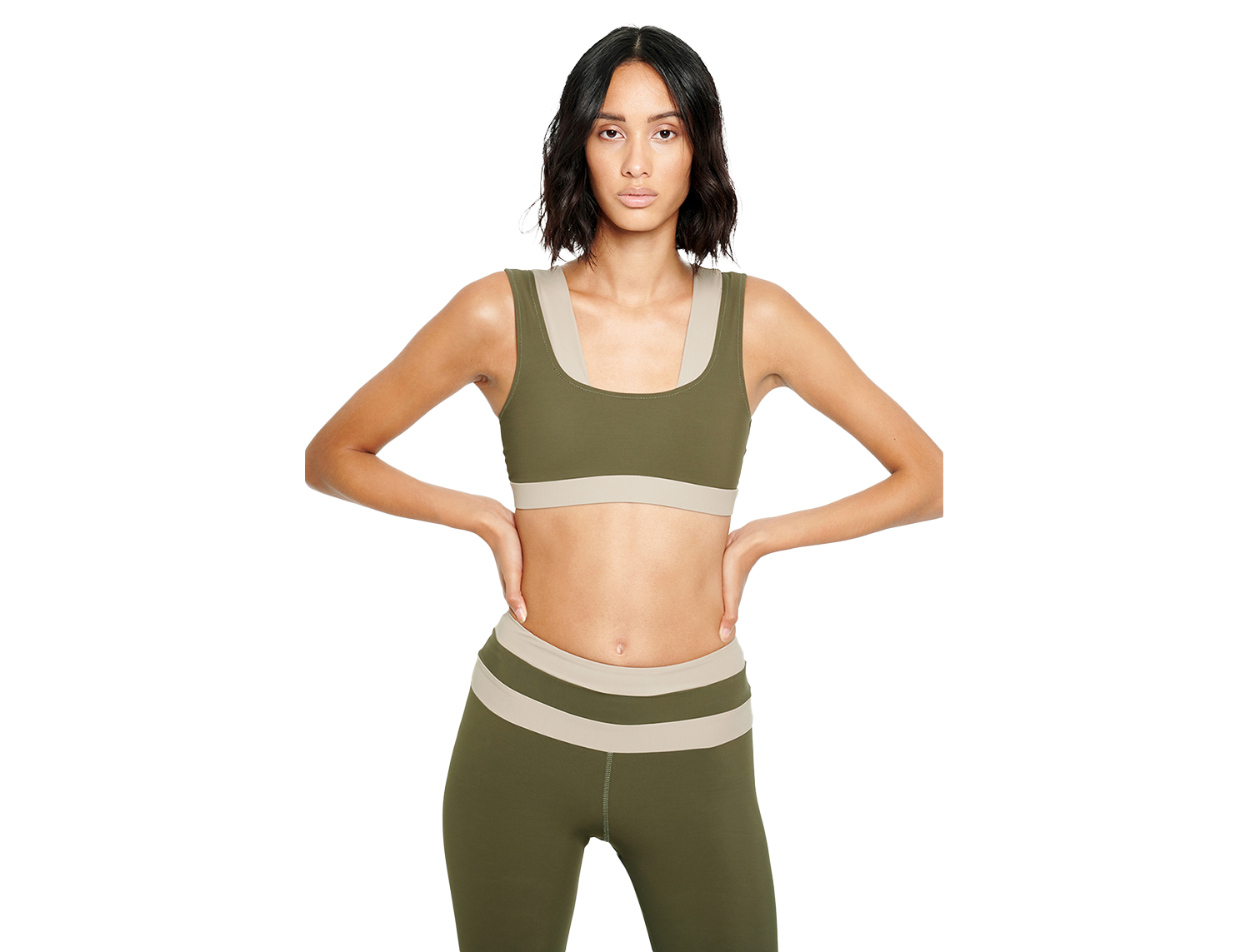 FUNCTION Two-tone sports bra Green - MEYIA