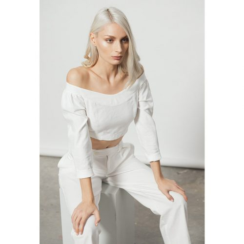 The Clavicle Crop Top-WHITE - 4tailors