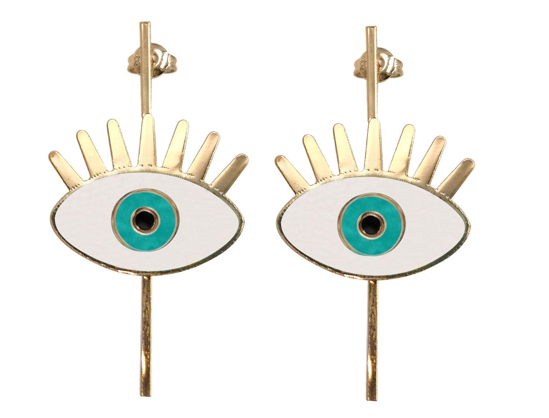 White Evil eye earring - Adema
