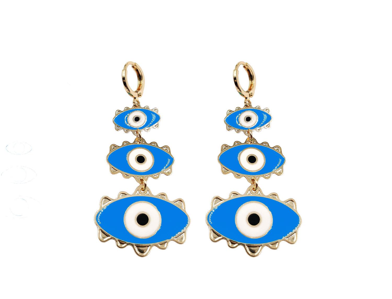 Blue Evil eye drop earring - Adema