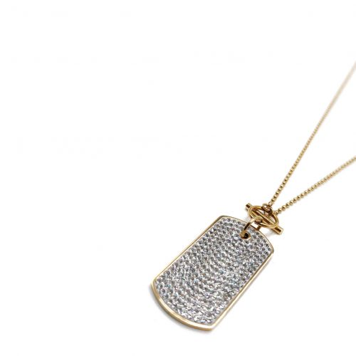 Product custom tag necklace with zirgon