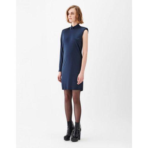 ASYMMETRIC JERSEY DRESS BLUE- STELIOS KOUDOUNARIS