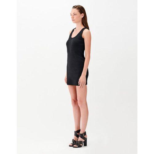BODYCON SHORT RIB DRESS BLACK - STELIOS KOUDOUNARIS