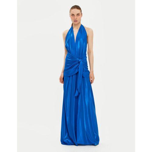 DRAPED BOW METALLIC DRESS- Blue- Stelios Koudounaris Marina Vernicos (2)