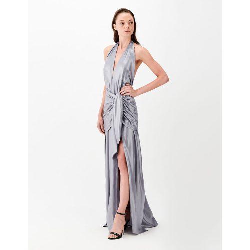 DRAPED BOW METALLIC DRESS- Silver - Stelios Koudounaris Marina Vernicos (2)