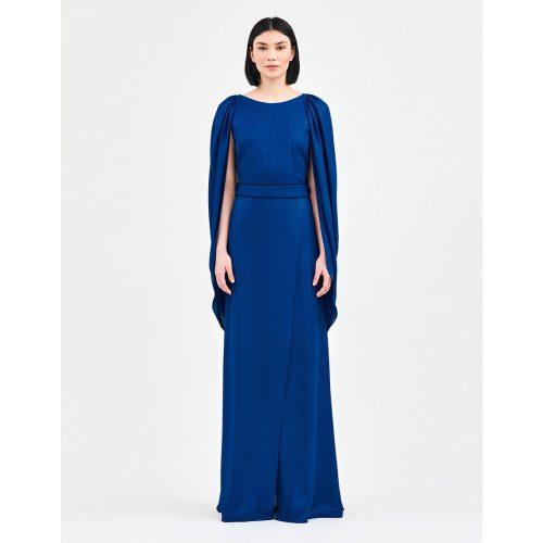 Draped royal back dress dark blue _ Stelios Koudounaris (1)