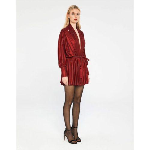 METALLIC-DRAPED-SHORT-DRESS---Koudounaris---Marina-Vernicos