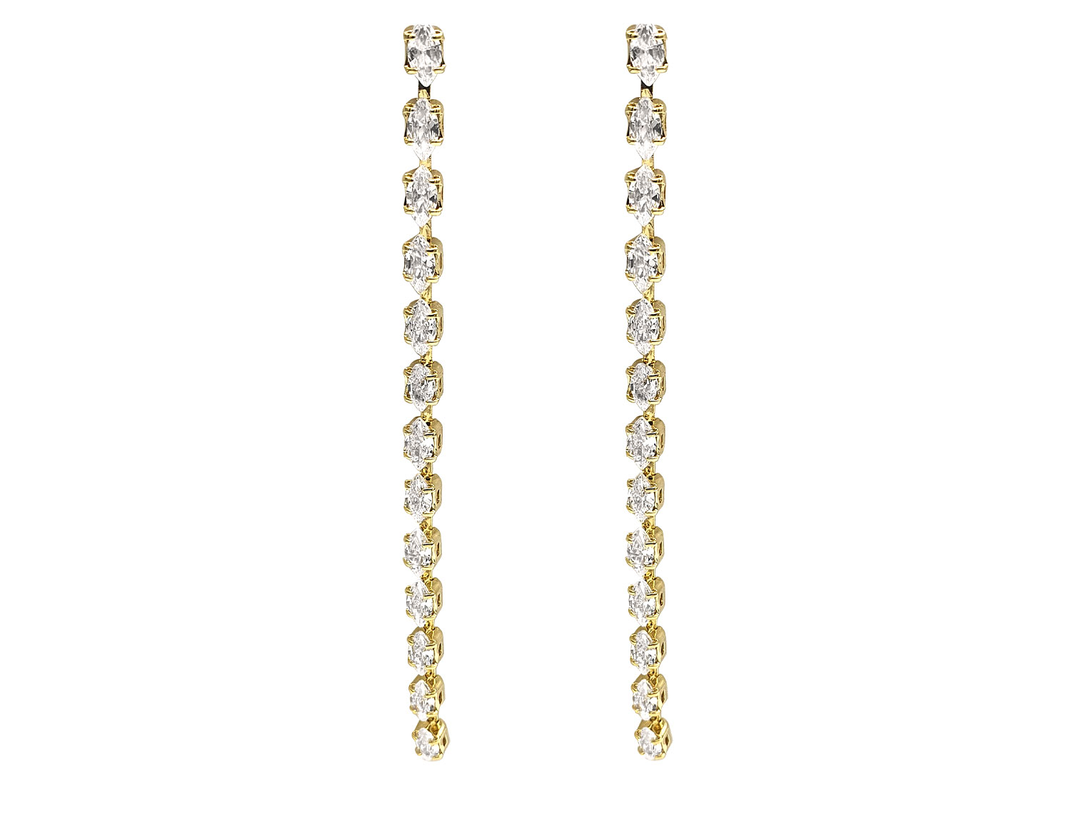 Sparkling Diamond Drop Earrings Gold Plated - Adema