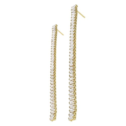 Sparkling Pave Diamond Drop Earrings Gold Plated - Adema