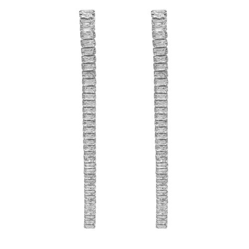 Sparkling Pave Diamond Drop Earrings Silver Plated - Adema